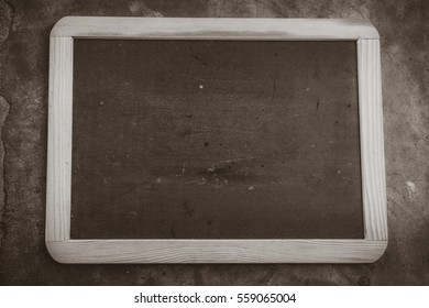 blackboard with wooden bamboo frame and blank space  text love concept