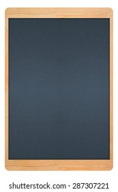 blackboard in wooden frame with blue on white background