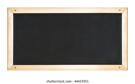 Blackboard in wooden frame. Isolated on white.