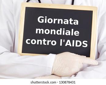 Blackboard : World AIDS Day : Italian language