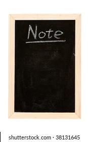 "Blackboard writing white a word of ""Note""."