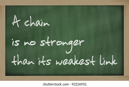 """Blackboard writings """"  A chain is no stronger than its weakest link """""""