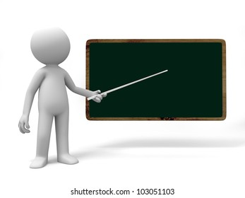 blackboard/A 3d people is pointed at the blackboard