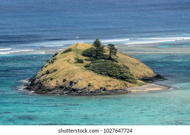 Blackburn Island in the lagoon with the world's southernmost coral reef on World Heritage Lord Howe Island, New South Wales, Australia.