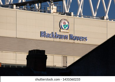 Blackburn, Lancashire UK. June 2018 Ewood Park showing the Blackburn Rovers Logo