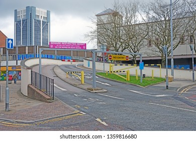 Blackburn, Lancashire/England - 02.04.2019 - Entrance to The Mall car park at the junction of Corporation Street and Astley Gate road Blackburn