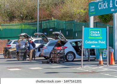 Blackburn, Lancashire/England - 07.04.2020 - Public collecting there shopping from Asda`s click & collection point due to the coronavirus covid-19 outbreak