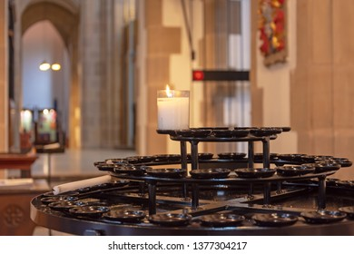 Blackburn, Lancashire/England - 19.10.2018 - Tealight candle burning Blackburn Cathedral