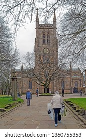 Blackburn, Lancashire/England - 21.03.2019 - Visitors enjoying the grounds of Blackburn Cathedral