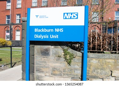 Blackburn, Lancashire/UK - April 10th 2019: Blackburn NHS Dialysis Unit sign showing Fresenius private provider of dialysis services