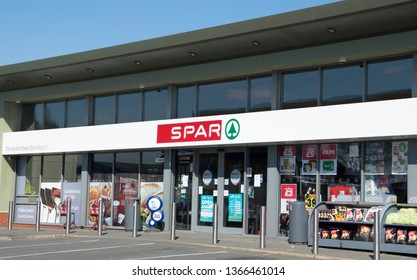 Blackburn, Lancashire/UK - April 11th 2019: SPAR shop on petrol forecourt, Preston Old Road.