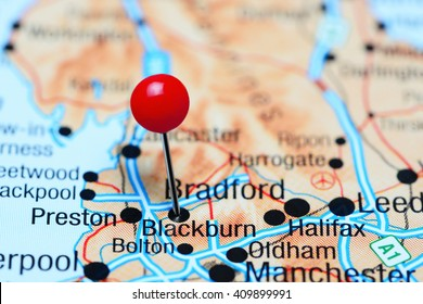 Blackburn pinned on a map of UK