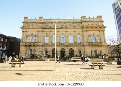 BLACKBURN, UK - FEBRUARY 16 2016: Town Hall. Blackburn is a large town in Lancashire, England which lies to the north of the West Pennine Moors on the southern edge of the Ribble Valley,