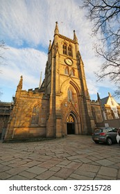 BLACKBURN, UK - FEBRUARY 3 2016: Blackburn Cathedral. Blackburn is a large town in Lancashire, England which lies to the north of the West Pennine Moors on the southern edge of the Ribble Valley,