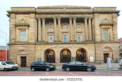 BLACKBURN, UK - FEBRUARY 3 2016: Entertainment Hall. Blackburn is a large town in Lancashire, England which lies to the north of the West Pennine Moors on the southern edge of the Ribble Valley,