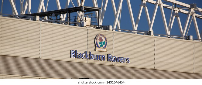 Blackburn United Kingdom June 2018 The Rovers ground at Ewood Park showing the club logo and name and the superstructure of the buildonh