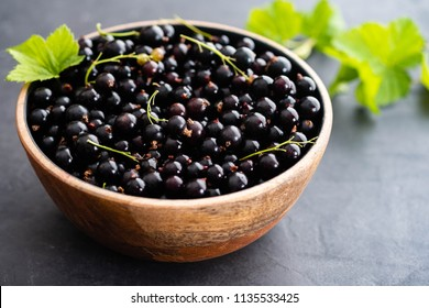 Blackcurrant berries with leaves, blackcurrant in a bowl.