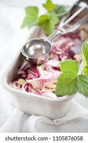 Blackcurrant ice cream with yogurt and blackcurrants