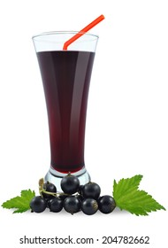 blackcurrant juice in a glass on a white background