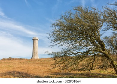 Blackdown, Portesham, Dorset - 13 February 2017: The Hardy Monument built in memory of Vice Admiral Sir Thomas Hardy, a commander at the Battle of Trafalgar who was born locally.