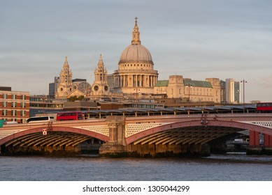 Blackfriars bridge in London with St Paul's Cathedral in the background