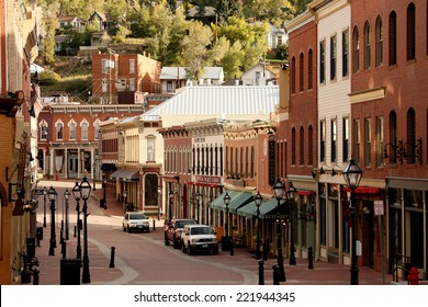 Blackhawk, Colorado - 9/28/2013 - view looking down the street lined with old western style casinos