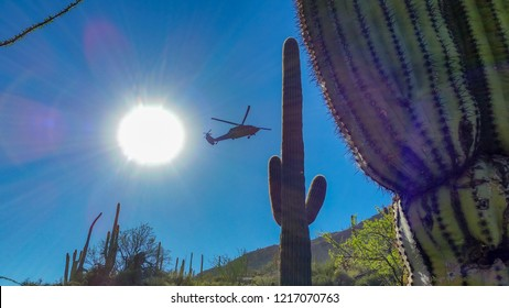 A Blackhawk Helicopter on a rescue mission for a hiker suffering from heat exhaustion in the Sonoran Desert, Southern Arizona. March of 2017.