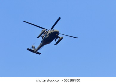 Blackhawk Helicpter with external fuel tanks.