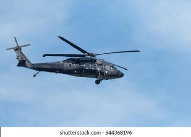 Blackhawk S-70i flying over Potomac River. 2016