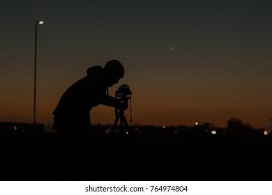 Blackheath, UK, November 2017: An astronomer photographs images of Venus on the 24th November 2017