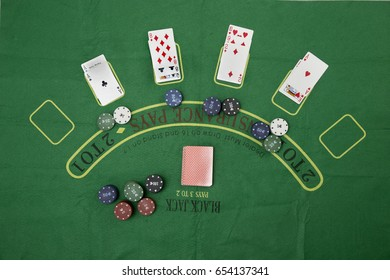 Blackjack table set with with 4 players
