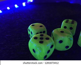 Blacklight LED Dice Cube in an Area