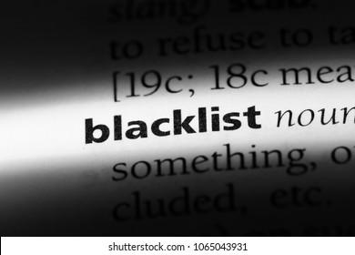 blacklist word in a dictionary. blacklist concept.