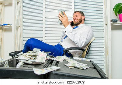Blackmail and money extortion. Illegal money profit concept. Successful deal. Man fraudster speak mobile phone ask for money. Financial fraud crime. Man earn money on mobile conversation fraud.