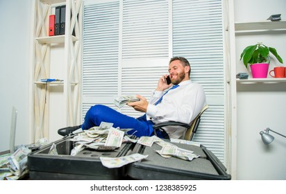 Blackmail and money extortion. Illegal money profit concept. Businessman discuss successful deal. Fraudster speak mobile phone. Financial fraud crime. Man earn money on mobile conversation fraud.