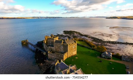 Blackness, Linlithgow, West Lothian, Scotland, UK; November 5th 2017: Aerial image of Blackness Castle. Great stone ship appearance and film location for Hamlet, Ivanhoe and most recently Outlander.