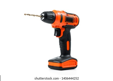 Black-orange cordless screwdriver drill over white background.