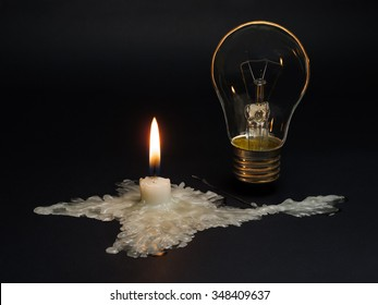 Blackout. Crimea without power supply from Ukraine.  A candle melted In the shape of Crimea symbolizes the disconnection of the peninsula from electricity.