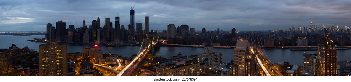 Blackout of lower Manhattan from Hurricane Sandy while still having power from 30th street up