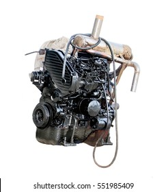 Black-painted engine isolated on white background. Powerful motor ready for work. Newly painted boat engine.