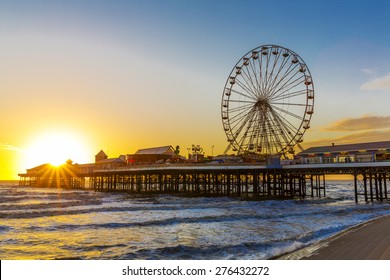 Blackpool Central Pier at Sunset with Ferris Wheel, Lancashire, England UK