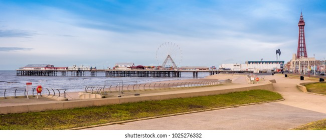 Blackpool central pier and tower panorama