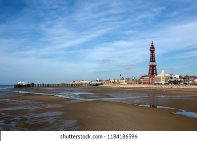 Blackpool. England. 09.27.15, The old North Pier and Blackpool Tower in the seaside resort of Blackpool on the northwest coast of England.