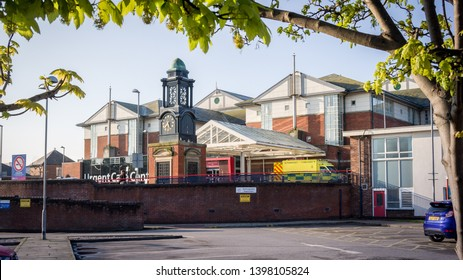 Blackpool England 11th May 2019: Blackpool Victoria Hospital viewed from a car park through some tree branches