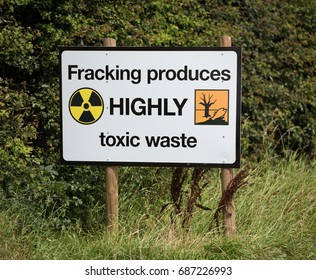 blackpool, england, 31/07/2017 Anti shale gas fracking protestors signs outside the cuadrilla fracking site at Preston New Road in Lancashire.Fracking is dangerous.