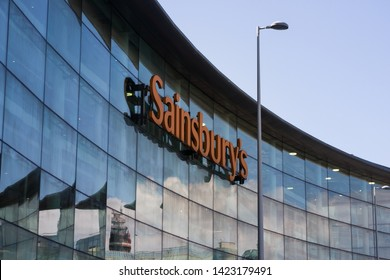 Blackpool England, 6th May 2019: Sainsbury`s supermarket on Talbot Rd with the Tower reflected in its glass windows