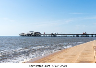 Blackpool, England - July 7th, 2019: North pier on a calm summers day