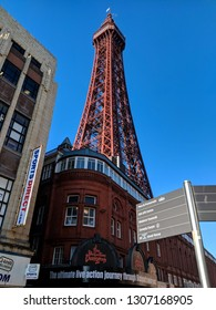 BLACKPOOL, ENGLAND - NOVEMBER 21, ‎2018: Blackpool Tower on a very cold, bracing winter day outside the tourist season, under a bright blue sky, Blackpool, UK