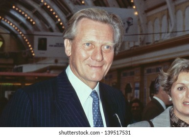BLACKPOOL, ENGLAND - OCTOBER 10: Rt.Hon. Michael Heseltine, Conservative party Member of Parliament for Henley, attends the party conference on October 10, 1989 in Blackpool, Lancashire.