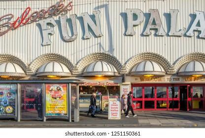 BLACKPOOL, ENGLAND - OCTOBER 26, 2018: Blackpool promenade during an autumn weekend. Blackpool is one of Englands favorite seaside resorts.